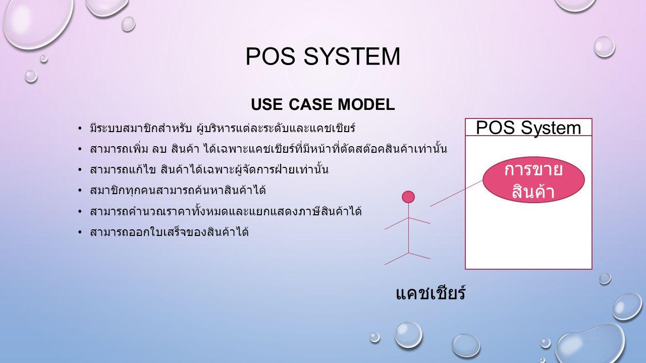 POS system POS System การขาย สินค้า แคชเชียร์ USE CASE MODEL