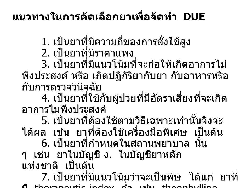 แนวทางในการคัดเลือกยาเพื่อจัดทำ DUE 1