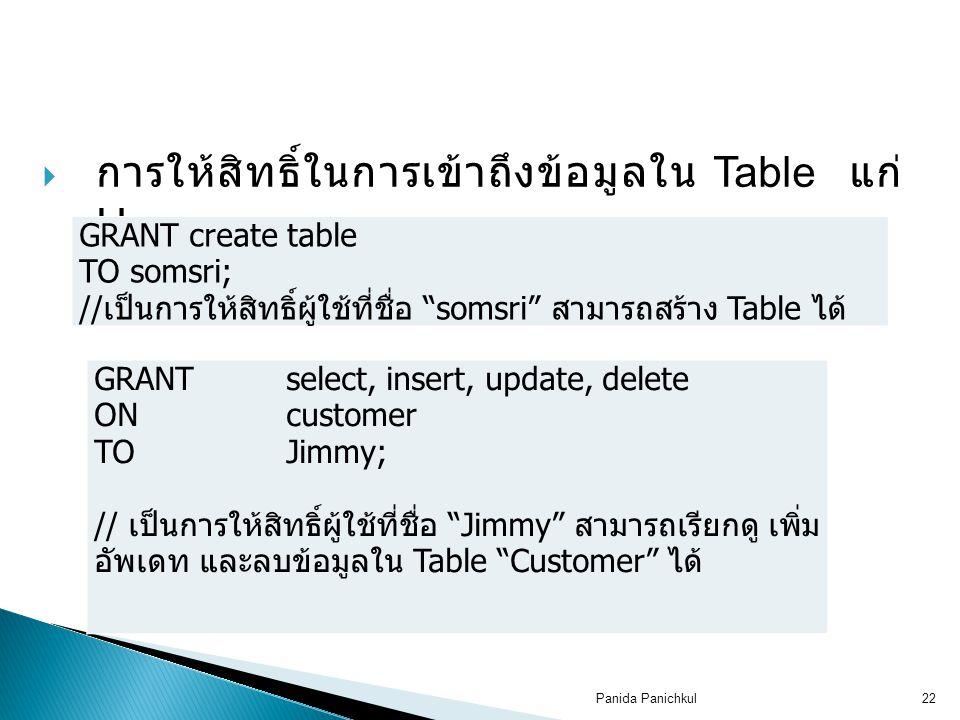 การให้สิทธิ์ในการเข้าถึงข้อมูลใน Table แก่ User