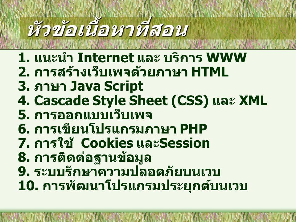 หัวข้อเนื้อหาที่สอน 1. แนะนำ Internet และ บริการ WWW