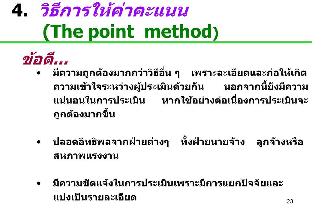 4. วิธีการให้ค่าคะแนน (The point method)