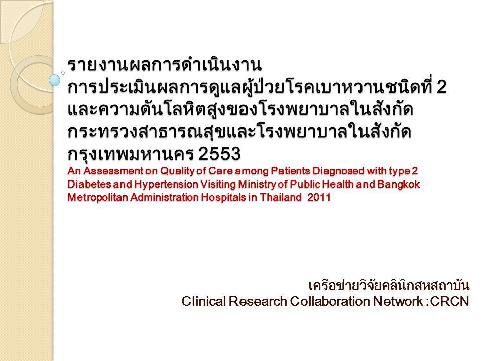 รายงานผลการดำเนินงาน การประเมินผลการดูแลผู้ป่วยโรคเบาหวานชนิดที่ 2 และความดันโลหิตสูงของโรงพยาบาลในสังกัดกระทรวงสาธารณสุขและโรงพยาบาลในสังกัดกรุงเทพมหานคร 2553 An Assessment on Quality of Care among Patients Diagnosed with type 2 Diabetes and Hypertension Visiting Ministry of Public Health and Bangkok Metropolitan Administration Hospitals in Thailand 2011