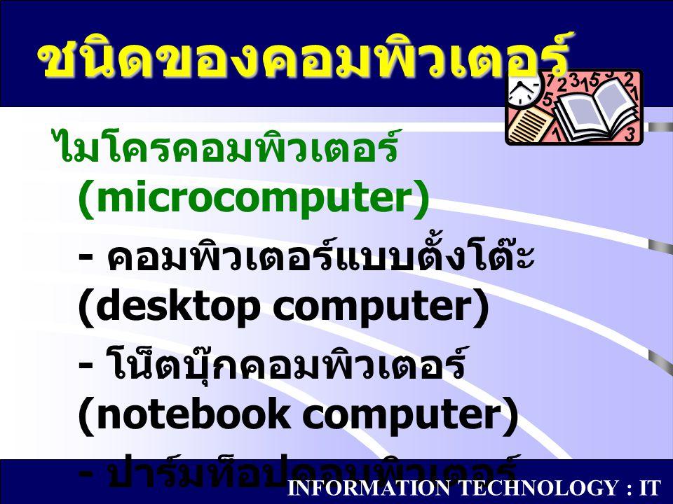 ชนิดของคอมพิวเตอร์ ไมโครคอมพิวเตอร์ (microcomputer)