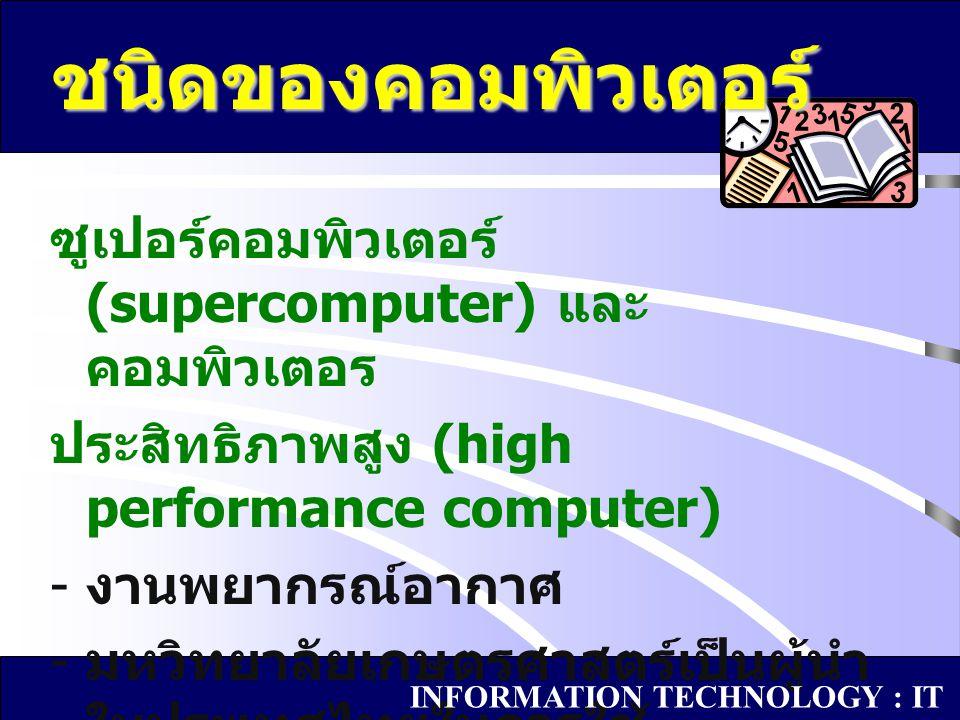 ชนิดของคอมพิวเตอร์ ซูเปอร์คอมพิวเตอร์ (supercomputer) และคอมพิวเตอร