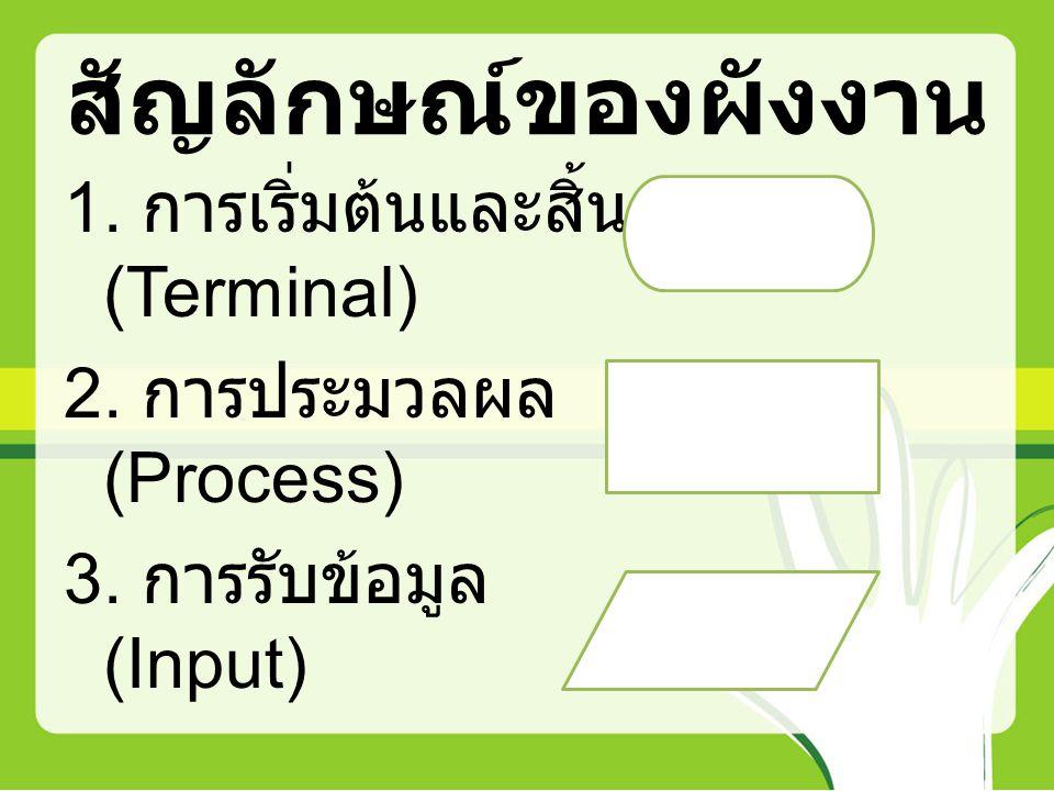 สัญลักษณ์ของผังงาน 1. การเริ่มต้นและสิ้นสุด (Terminal) 2.