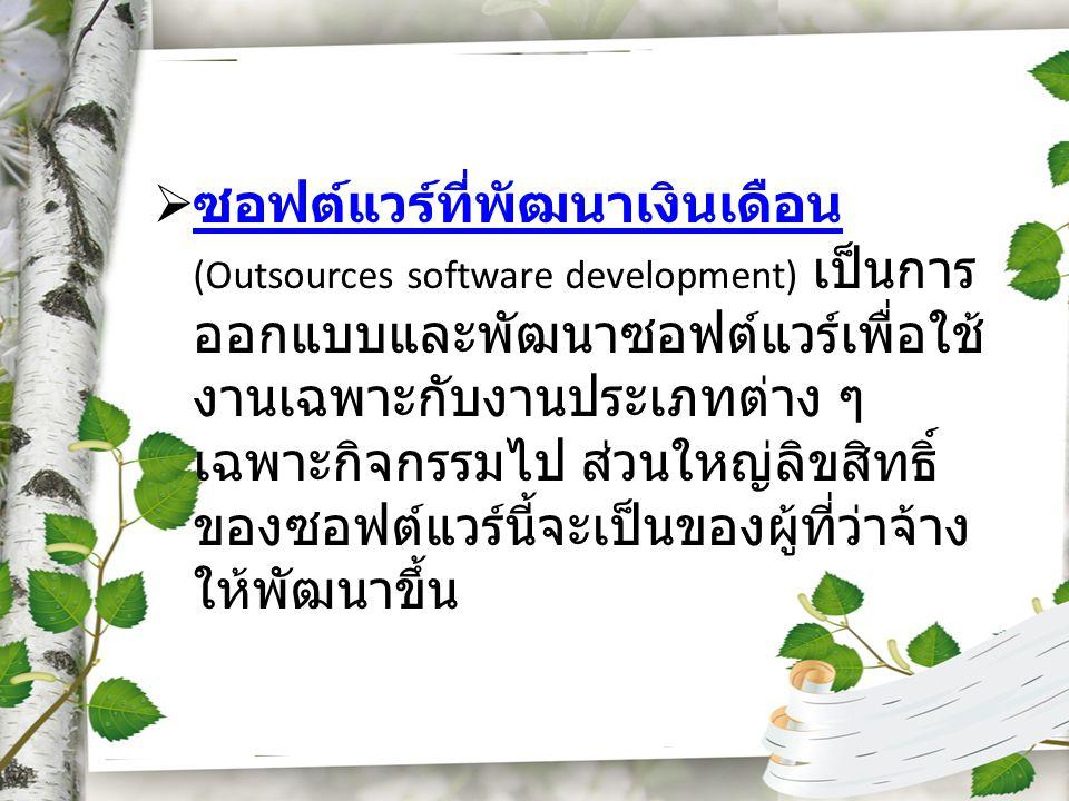 ซอฟต์แวร์ที่พัฒนาเงินเดือน (Outsources software development) เป็นการออกแบบและพัฒนาซอฟต์แวร์เพื่อใช้งานเฉพาะกับงานประเภทต่าง ๆ เฉพาะกิจกรรมไป ส่วนใหญ่ลิขสิทธิ์ของซอฟต์แวร์นี้จะเป็นของผู้ที่ว่าจ้างให้พัฒนาขึ้น
