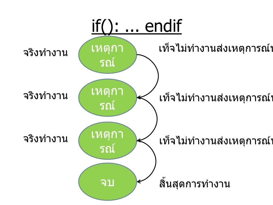 if(): ... endif เหตุการณ์ เหตุการณ์ เหตุการณ์ จบ