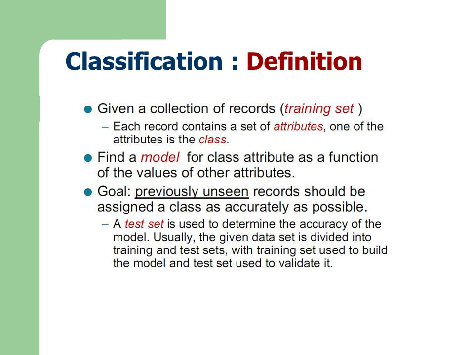 Classification : Definition