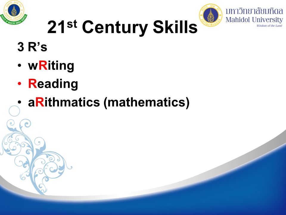 21st Century Skills 3 R's wRiting Reading aRithmatics (mathematics)
