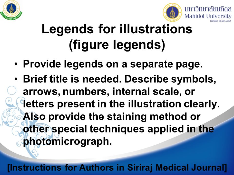 Legends for illustrations (figure legends)