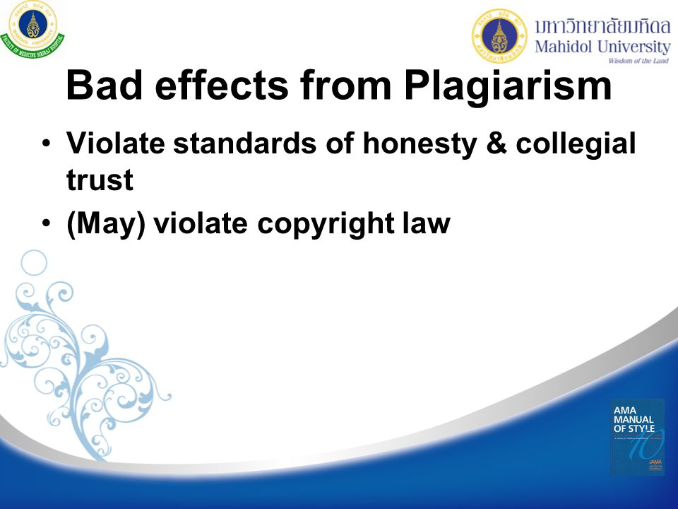 Bad effects from Plagiarism
