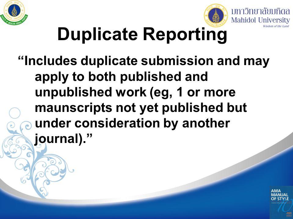 Duplicate Reporting
