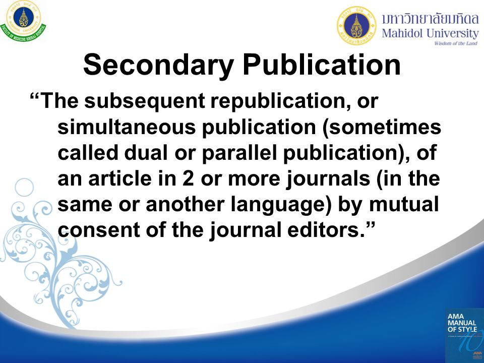 Secondary Publication