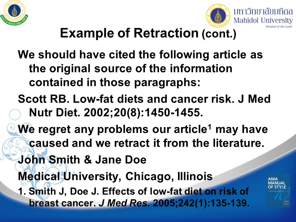 Example of Retraction (cont.)
