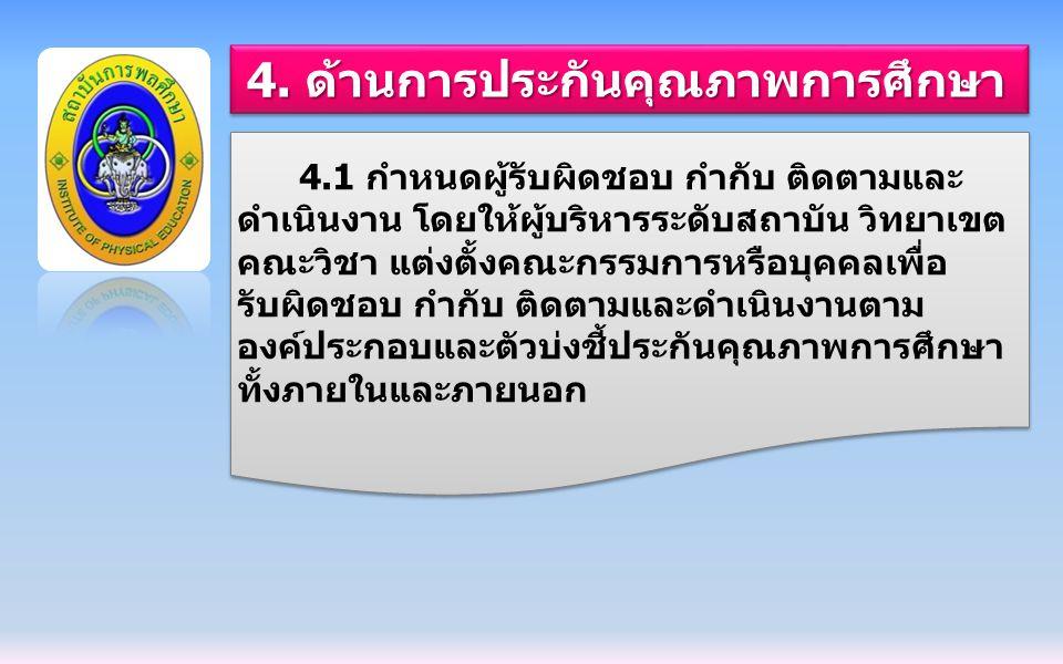 4. ด้านการประกันคุณภาพการศึกษา