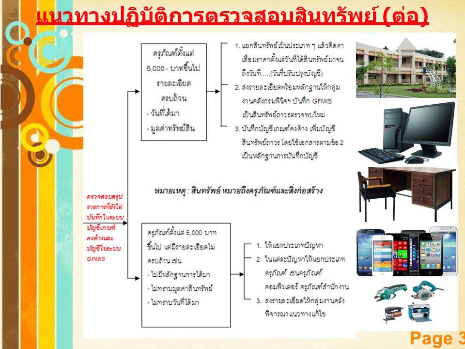 แนวทางปฏิบัติการตรวจสอบสินทรัพย์ (ต่อ)