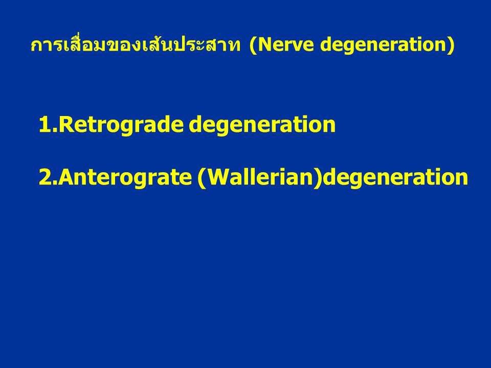 1.Retrograde degeneration 2.Anterograte (Wallerian)degeneration