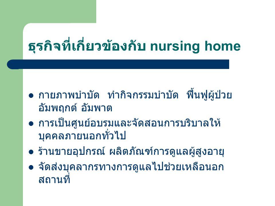 ธุรกิจที่เกี่ยวข้องกับ nursing home