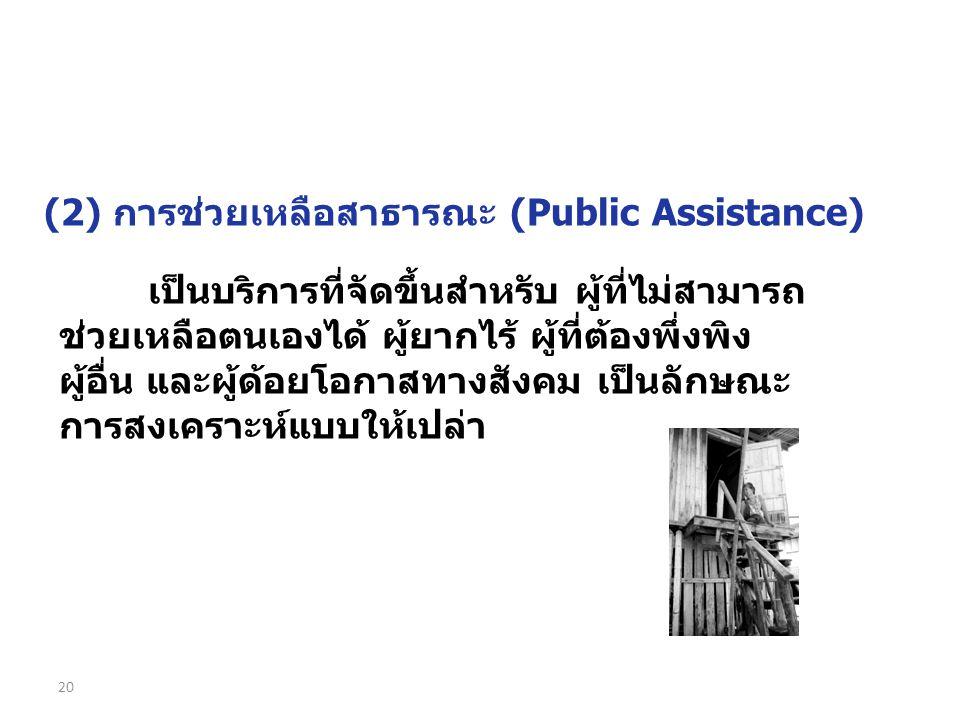 (2) การช่วยเหลือสาธารณะ (Public Assistance)