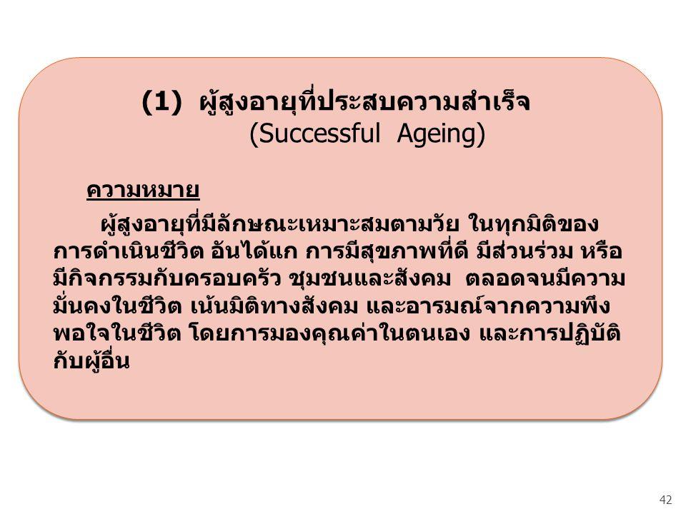 (1) ผู้สูงอายุที่ประสบความสำเร็จ (Successful Ageing)