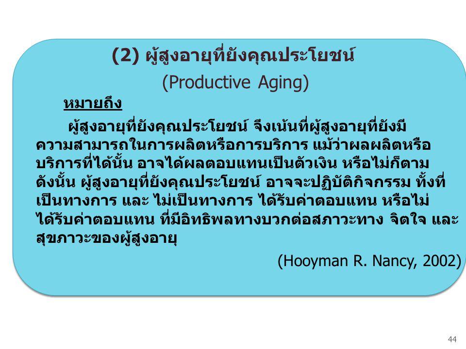 (2) ผู้สูงอายุที่ยังคุณประโยชน์ (Productive Aging)
