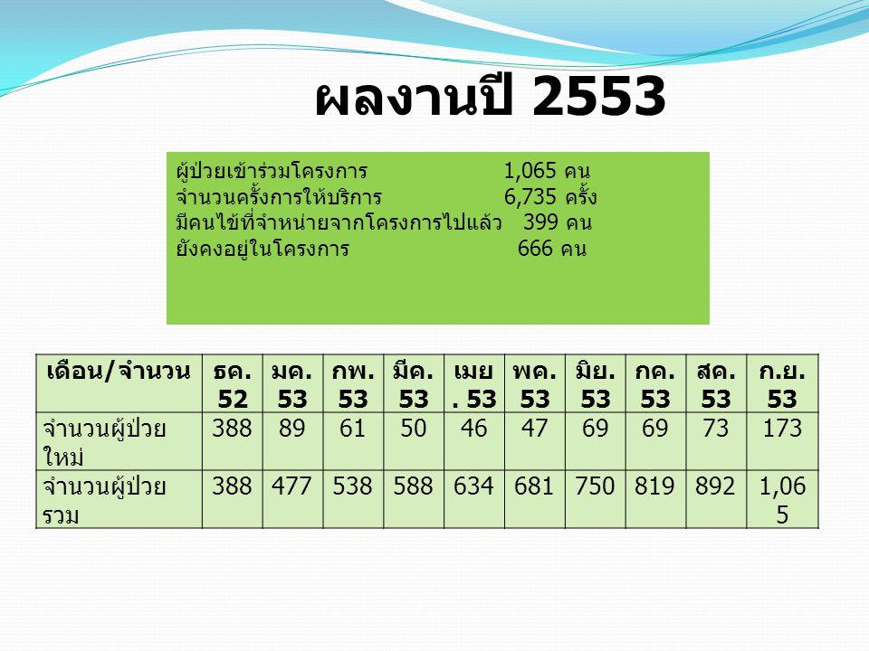 ผลงานปี 2553 เดือน/จำนวน ธค. 52 มค. 53 กพ. 53 มีค. 53 เมย. 53 พค. 53