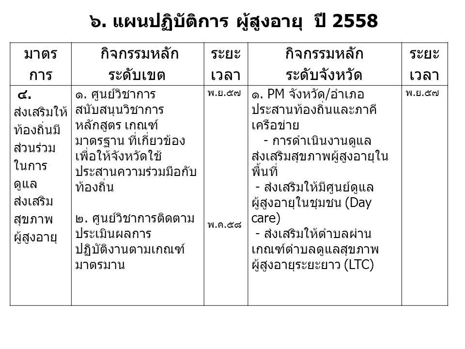 ๖. แผนปฏิบัติการ ผู้สูงอายุ ปี 2558