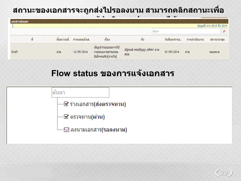 Flow status ของการแจ้งเอกสาร