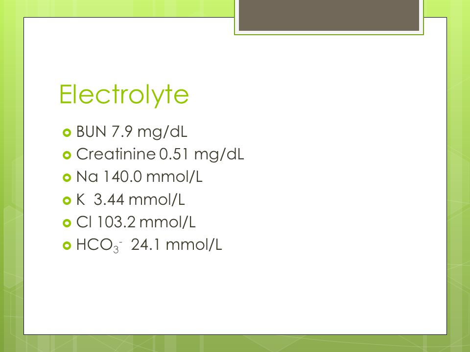 Electrolyte BUN 7.9 mg/dL Creatinine 0.51 mg/dL Na 140.0 mmol/L