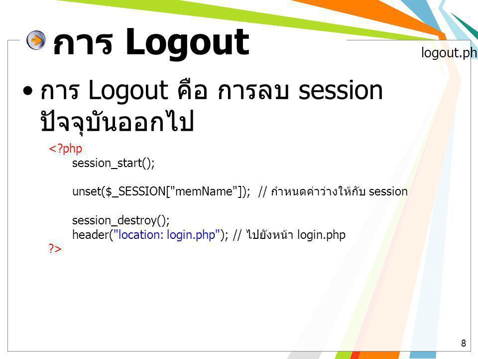 การ Logout การ Logout คือ การลบ session ปัจจุบันออกไป logout.php