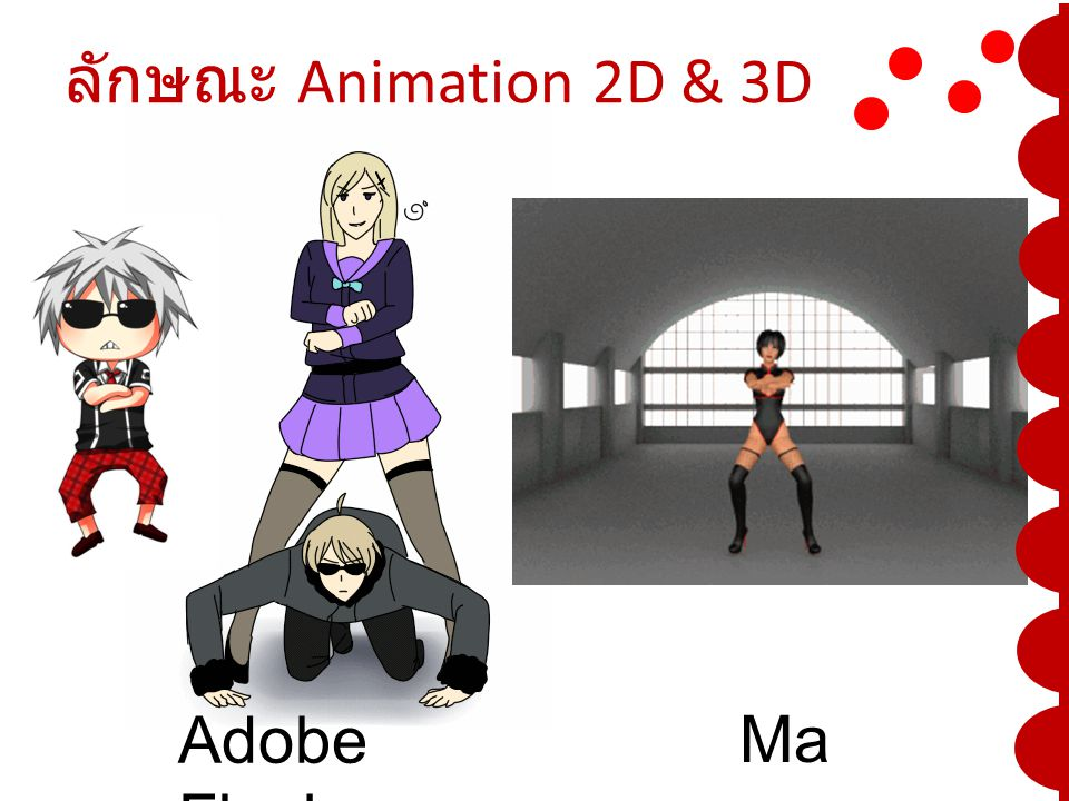 ลักษณะ Animation 2D & 3D Adobe Flash Maya