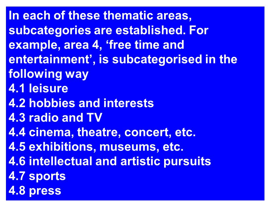 In each of these thematic areas, subcategories are established