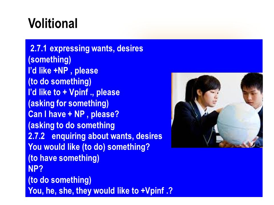 Volitional 2.7.1 expressing wants, desires (something)