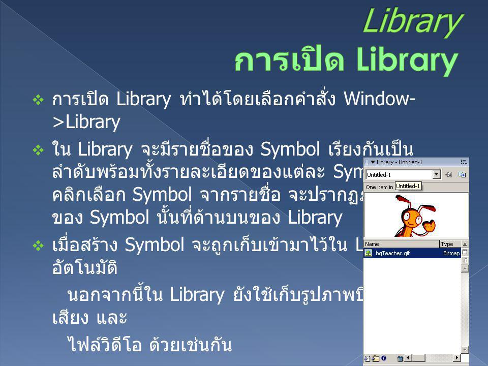Library การเปิด Library