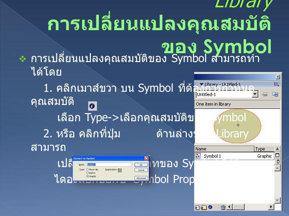 Library การเปลี่ยนแปลงคุณสมบัติของ Symbol