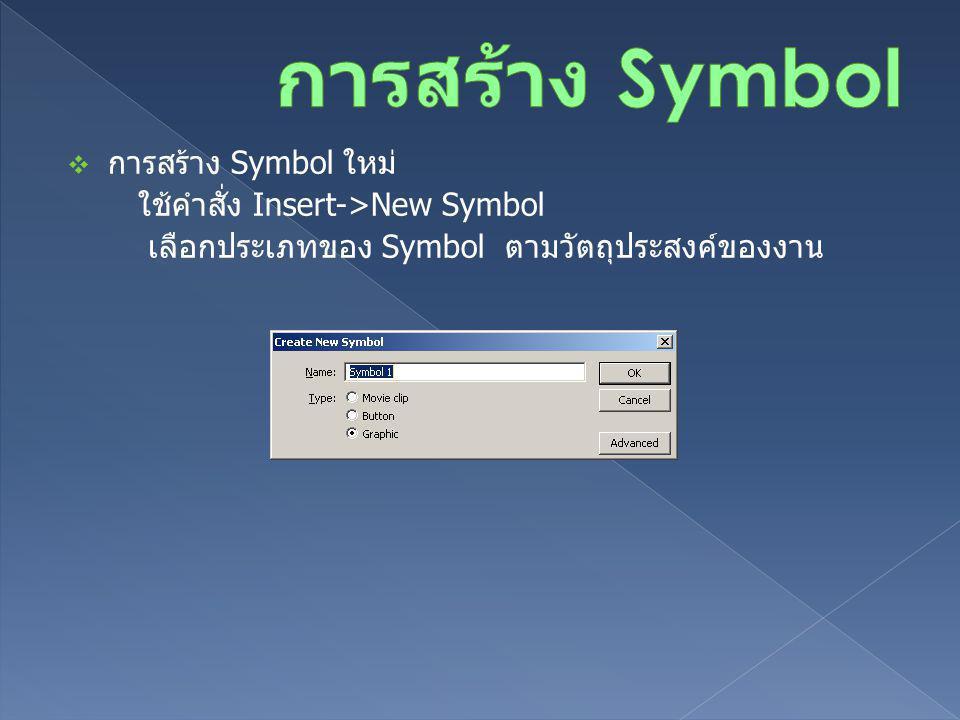 การสร้าง Symbol การสร้าง Symbol ใหม่ ใช้คำสั่ง Insert->New Symbol