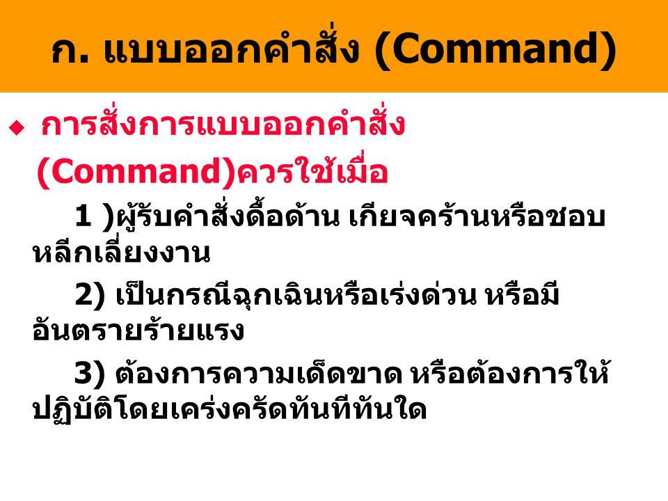 ก. แบบออกคำสั่ง (Command)