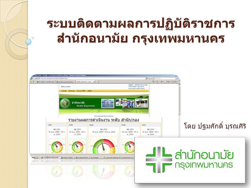 ระบบติดตามผลการปฏิบัติราชการสำนักอนามัย กรุงเทพมหานคร