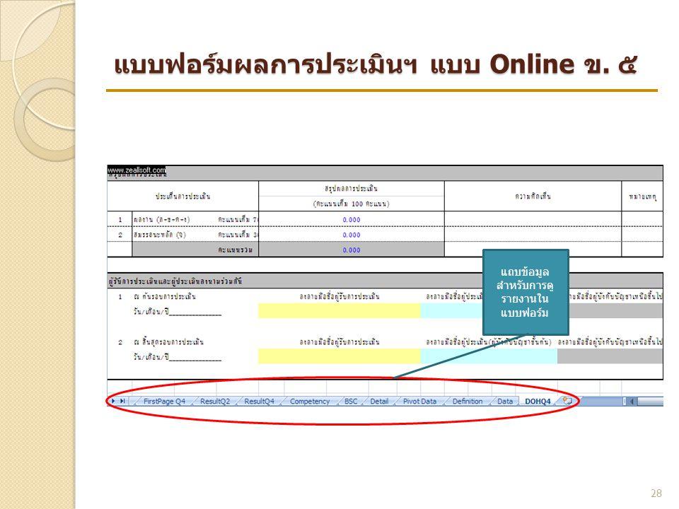 แบบฟอร์มผลการประเมินฯ แบบ Online ข. ๕