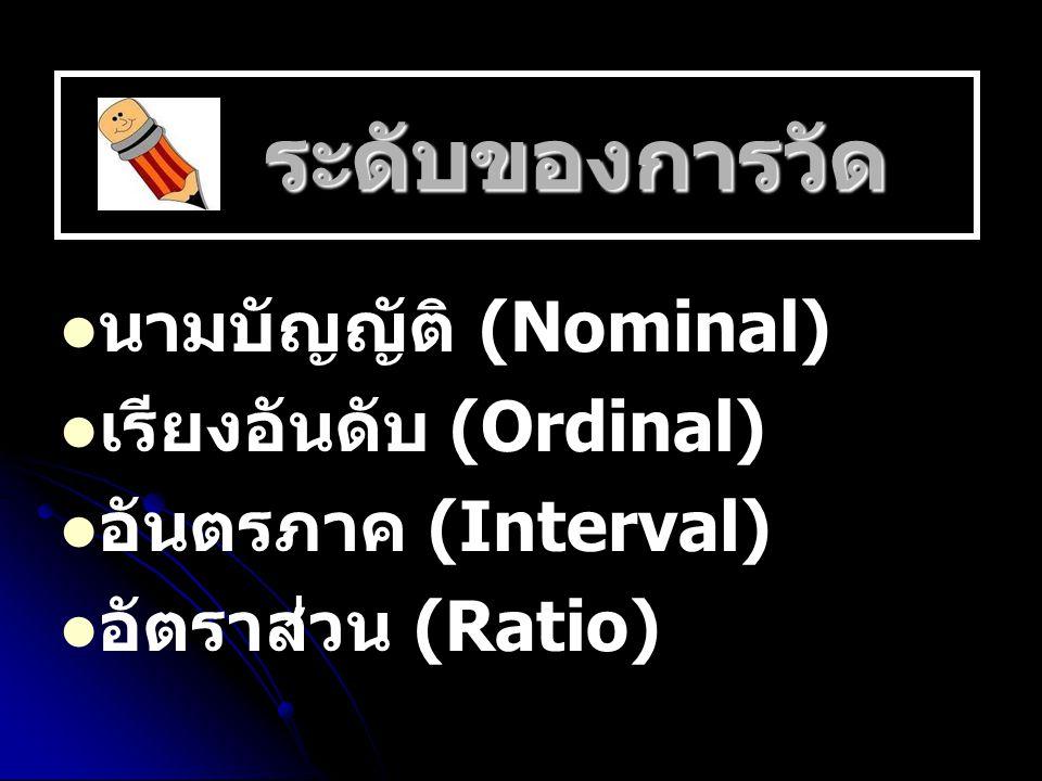เรียงอันดับ (Ordinal) อันตรภาค (Interval) อัตราส่วน (Ratio)