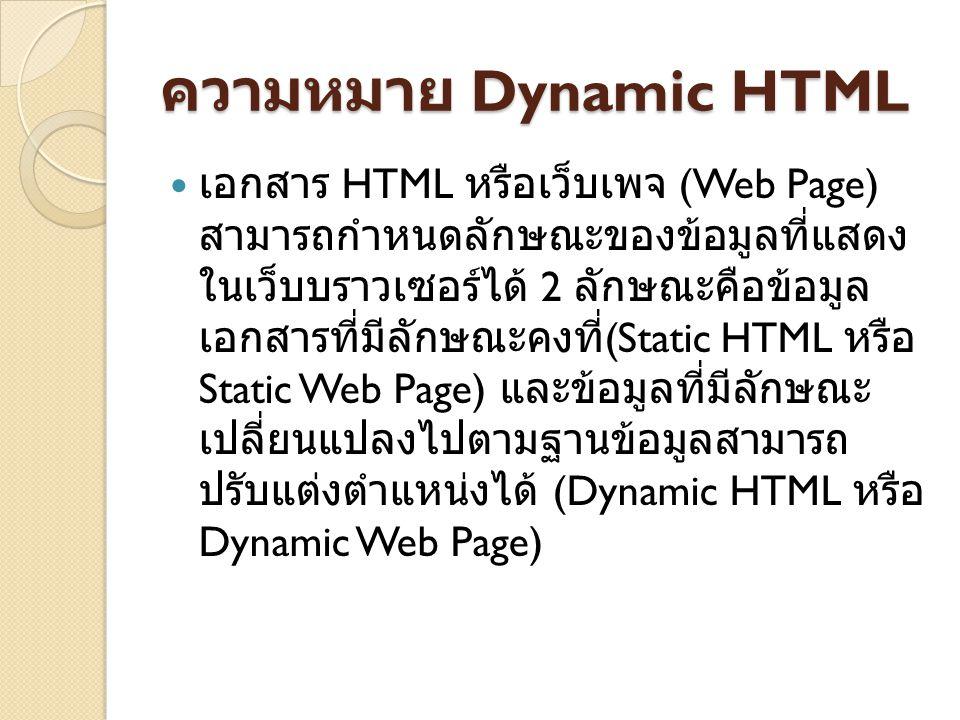 ความหมาย Dynamic HTML