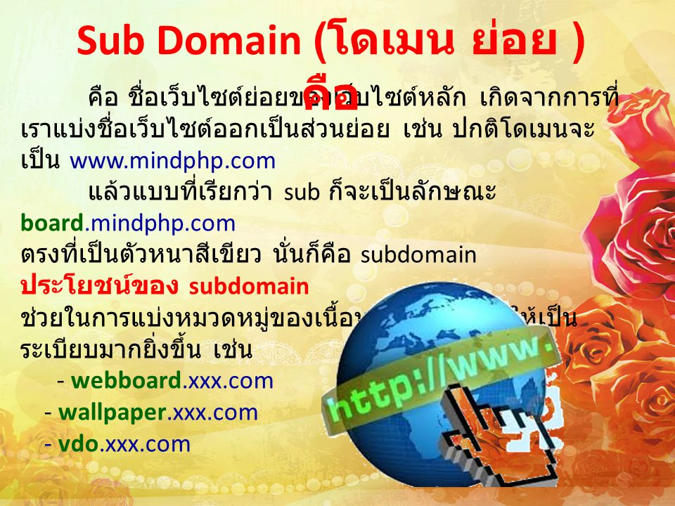 Sub Domain (โดเมน ย่อย ) คือ