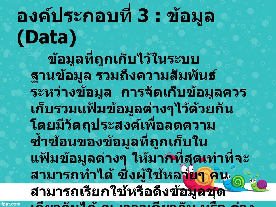 องค์ประกอบที่ 3 : ข้อมูล (Data)