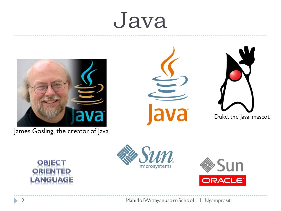 Java James Gosling, the creator of Java Object Oriented Language