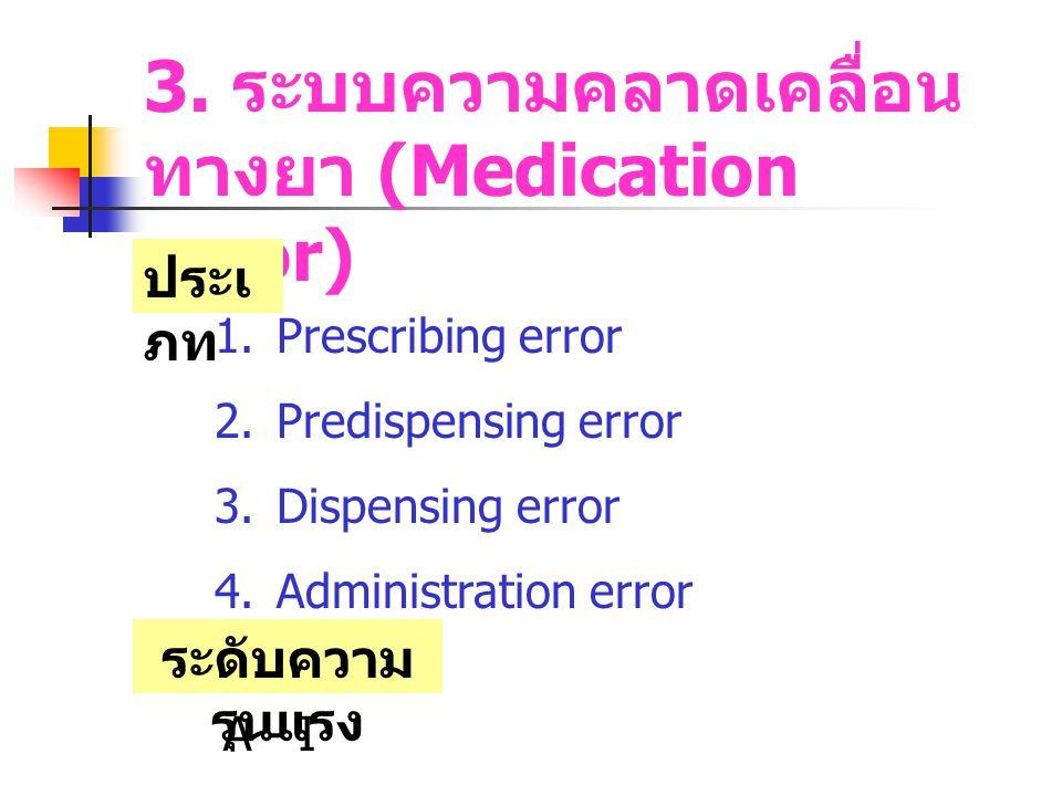 3. ระบบความคลาดเคลื่อนทางยา (Medication error)