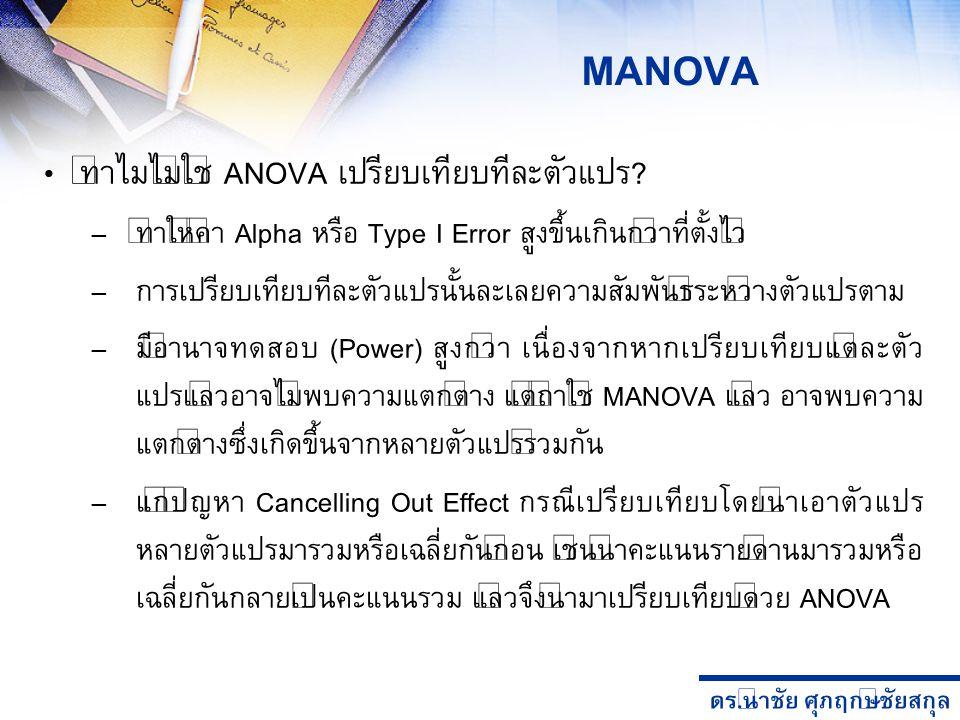 MANOVA ทำไมไม่ใช้ ANOVA เปรียบเทียบทีละตัวแปร