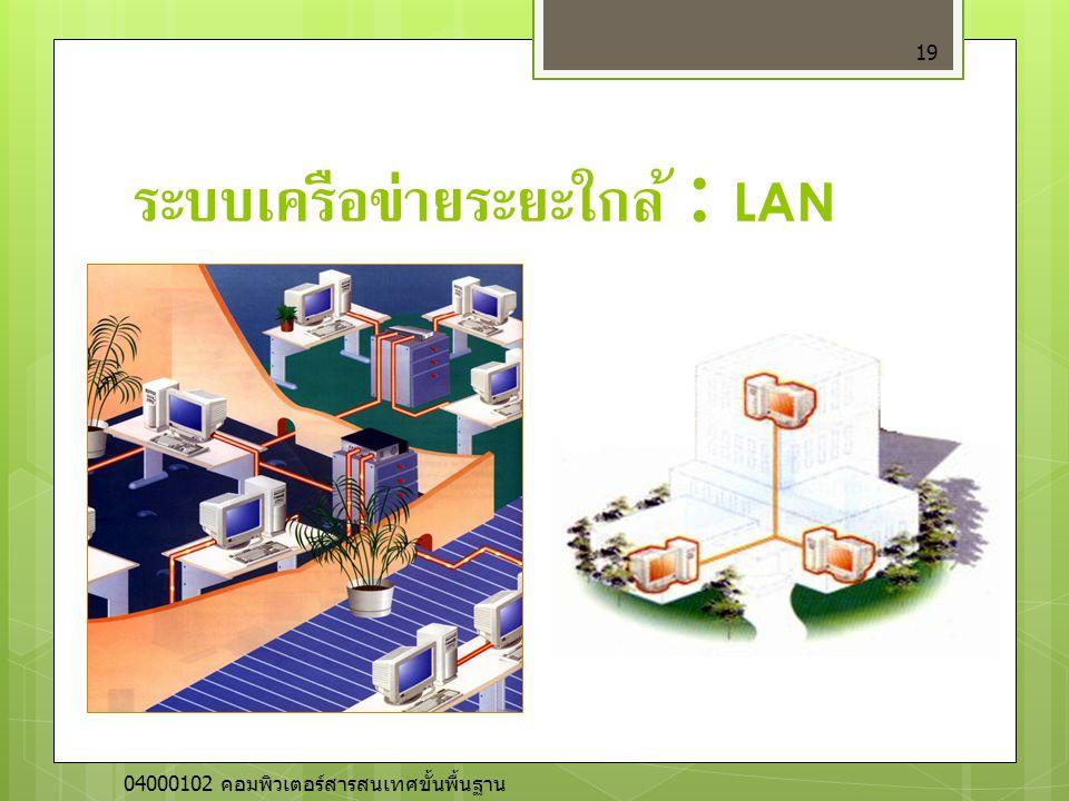 ระบบเครือข่ายระยะใกล้ : LAN