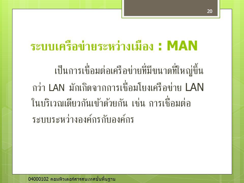 ระบบเครือข่ายระหว่างเมือง : MAN