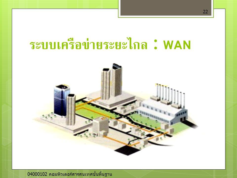 ระบบเครือข่ายระยะไกล : WAN