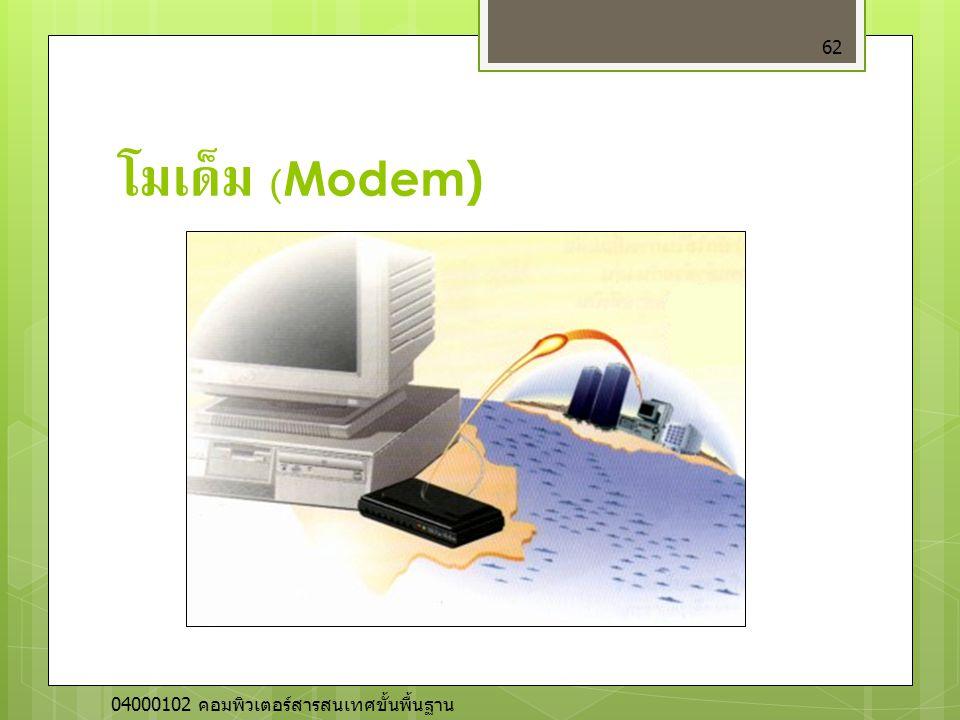 โมเด็ม (Modem) เป็นอุปกรณ์ที่ทำหน้าที่แปลงสัญญาณจากอนาลอกเป็นดิจิตอล และดิจิตอลเป็นอนาลอก. มี 2 ชนิด คือแบบติดตั้งภายใน และแบบติดตั้งภายนอก.